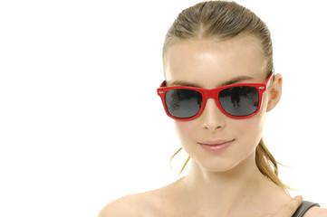 fashion or casual woman portrait wearing sunglasses