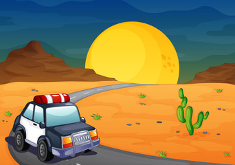 A police car at the desert