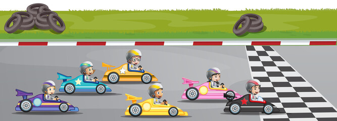 Poster Voitures enfants Car racing competition