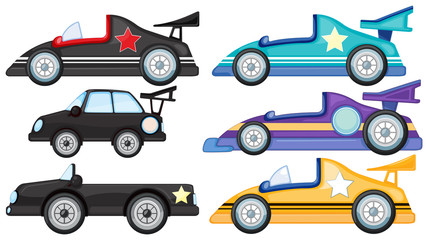 Six different styles of toy cars