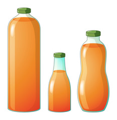 Three different sizes of bottles with orange juice