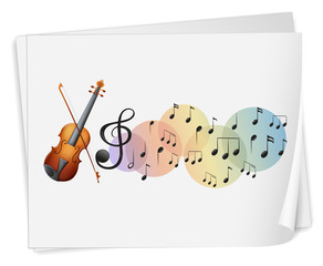 A violen printed on a paper with musical notes