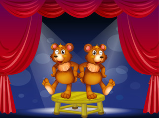 Two bears above the table performing at the stage