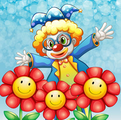 A clown at the back of the three lovely flowers