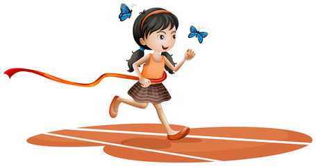 Fotorolgordijn Vlinders A girl running with two blue butterflies