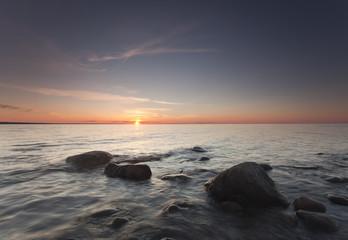 Baltic ocean sunrise, wide angle photo