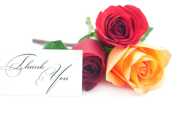 bouquet of colorful roses and card with the words thank you isol