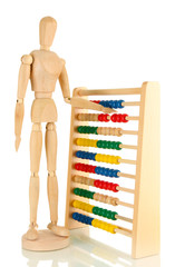 Bright toy abacus and wooden dummy, isolated on white