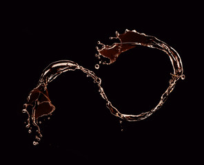 Water splash over black background