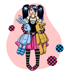 Emo girl with toys