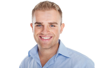 Closeup portrait of happy smiling young businessman isolated