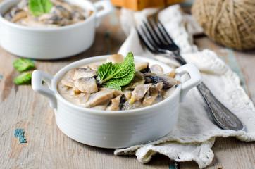 Mushrooms stewed with cream and sage