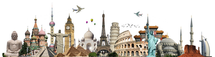 Fotobehang Aziatische Plekken Travel the world monuments concept