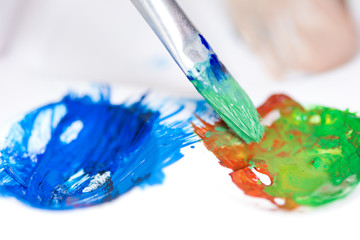 Paint brush stroke and palette