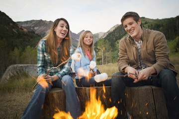 Caucasian family roasting marshmallows on campfire