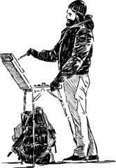 artist in sketching