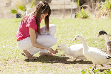 Gorgeous young woman feeding ducks at a farm