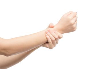 Woman rubs hand cream
