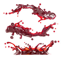 Wall Mural - abstract 3d liquid splash of red wine or cherry juice