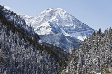 Snow covered mountain and valley