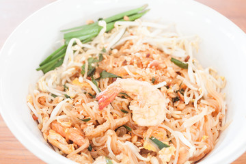 Stir fried noodle with shrimp, thai cuisine
