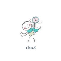 Man and clock