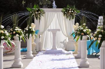 Outside wedding ceremony altar