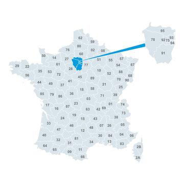 Carte de France Vecteur Vectoriel Département