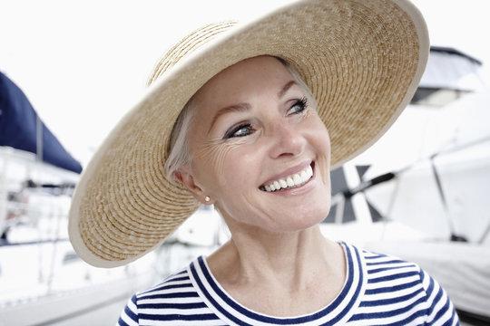 Smiling woman enjoying marina