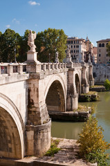 Wall Mural - Sant Angello bridge and Tevere river at Rome