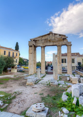 Remains of the west gate into the Roman Forum of Athens, Greece