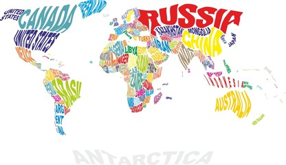 Aluminium Prints World Map world map with countries names