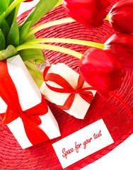 Red tulips and two gift box