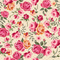 classic vector roses seamless background