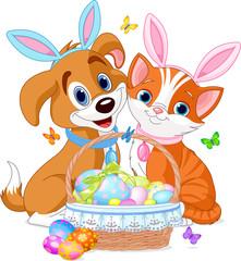 Printed kitchen splashbacks Cats Easter Cat and Dog
