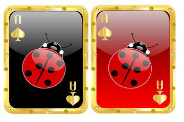 Carte da poker portafortuna con coccinella