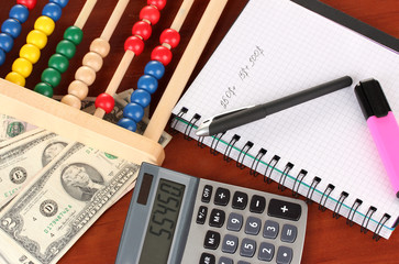 Bright wooden abacus and calculator.Conceptual photo of old and
