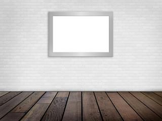 Raum mit weißer Ziegelwand, Holzboden, , Bilderrahmen