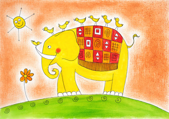 Happy elephant and birds, child's drawing, watercolor painting