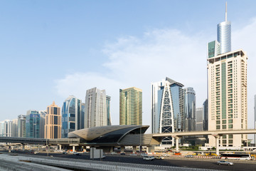 Dubai Metro and Skyscrapers