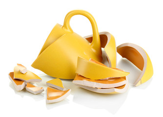 Obraz Yellow broken cup isolated on white - fototapety do salonu