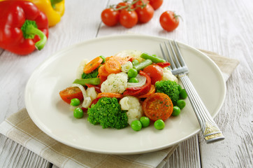 Steamed vegetables. Vegetarian food
