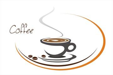 hot coffee , cafeteria , icon, business logo design