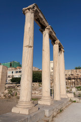 Four ionic columns in the Roman Agora of Athens