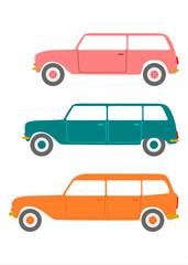 Stare samochody kombi na białym tle.