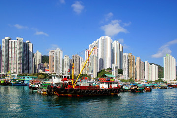 Wall Mural - Traditional junks in the Aberdeen Bay.  Hong Kong