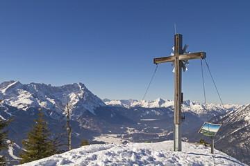Fototapete - Gipfelkreuz mit Zugspitze