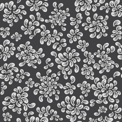Repeating vector floral and feather pattern