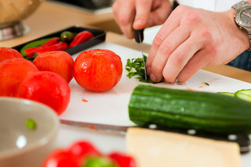 Preparing the vegetables and salad