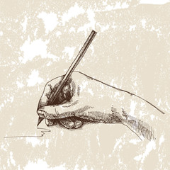 Hand and pencil. Drawing vector